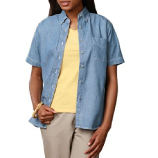 LADIES SHORT SLEEVE PREMIUM DENIM - FADED BLUE 2 EXTRA LARGE SOLID-