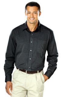 Mens L/S Crossweave Shirt-Blue Generation