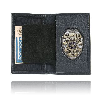 Book Style Badge Case w/ Oversize Id-Boston Leather