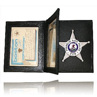 Book Style Badge Case With 2 Id-Boston Leather