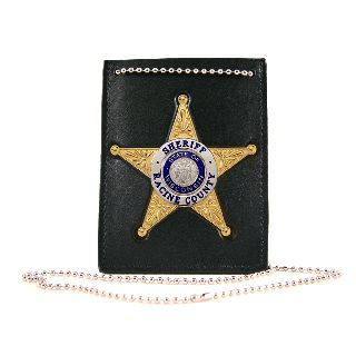 Neck Chain Holder With Custom Cut-Out For Badge On Front And Id Compartment On Back-Boston Leather