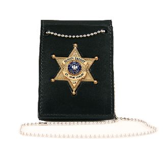 Npb Neck Chain Holder With Custom Cut-Out And Hook & Loop Closure For Shirt Pocket Or Over Belt Use-Boston Leather