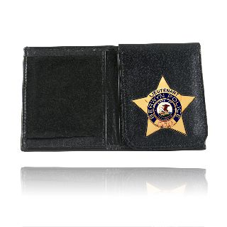 Badge Wallet With Flip Up Badge Holder-Boston Leather