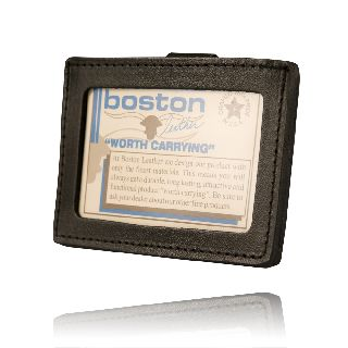 Clip-On Horizontal Id Holder-Boston Leather