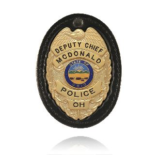 Large Oval Badge Holder w/ Recessed Cutout-