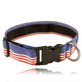 "1 1/2"" Red, White, Blue Nylon Collar (Adjusts 14""-22"" )-Boston Leather"