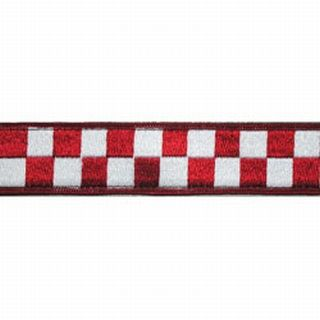 "1 1/2"" Red & White Nylon Collar (Adjusts 14""-22"")-Boston Leather"