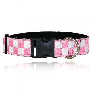 "1 1/2"" Pink & White Nylon Collar (Adjusts 14""-22"")-"