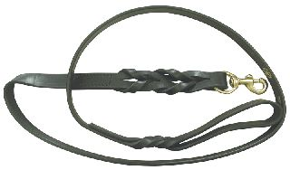"Braided Lead 60"" (Black Leather)-Boston Leather"