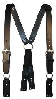 "Fireman""S Leather Suspenders (Button)(Reflective) (3"" Longer)-Boston Leather"