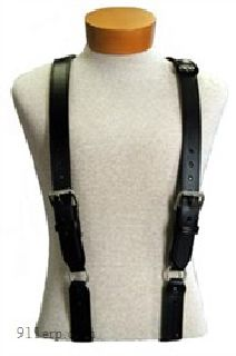 """H"" Back Suspenders (Snaps Onto Itself - Loop)(3"" Longer)-Boston Leather"