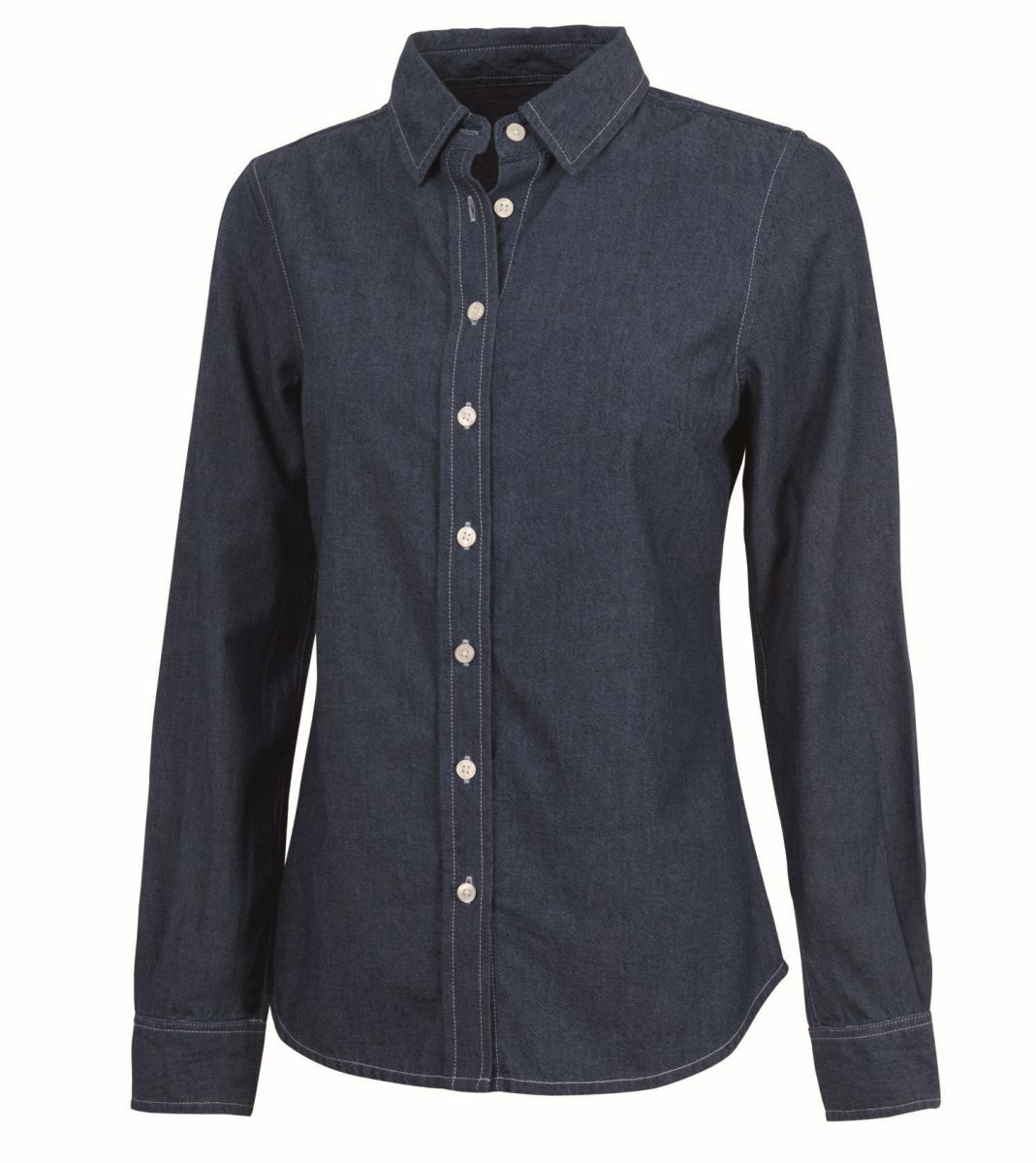 Women's Straight Collar Chambray Shirt