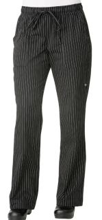 Women's Black Pinstripe Chef Pants-CW
