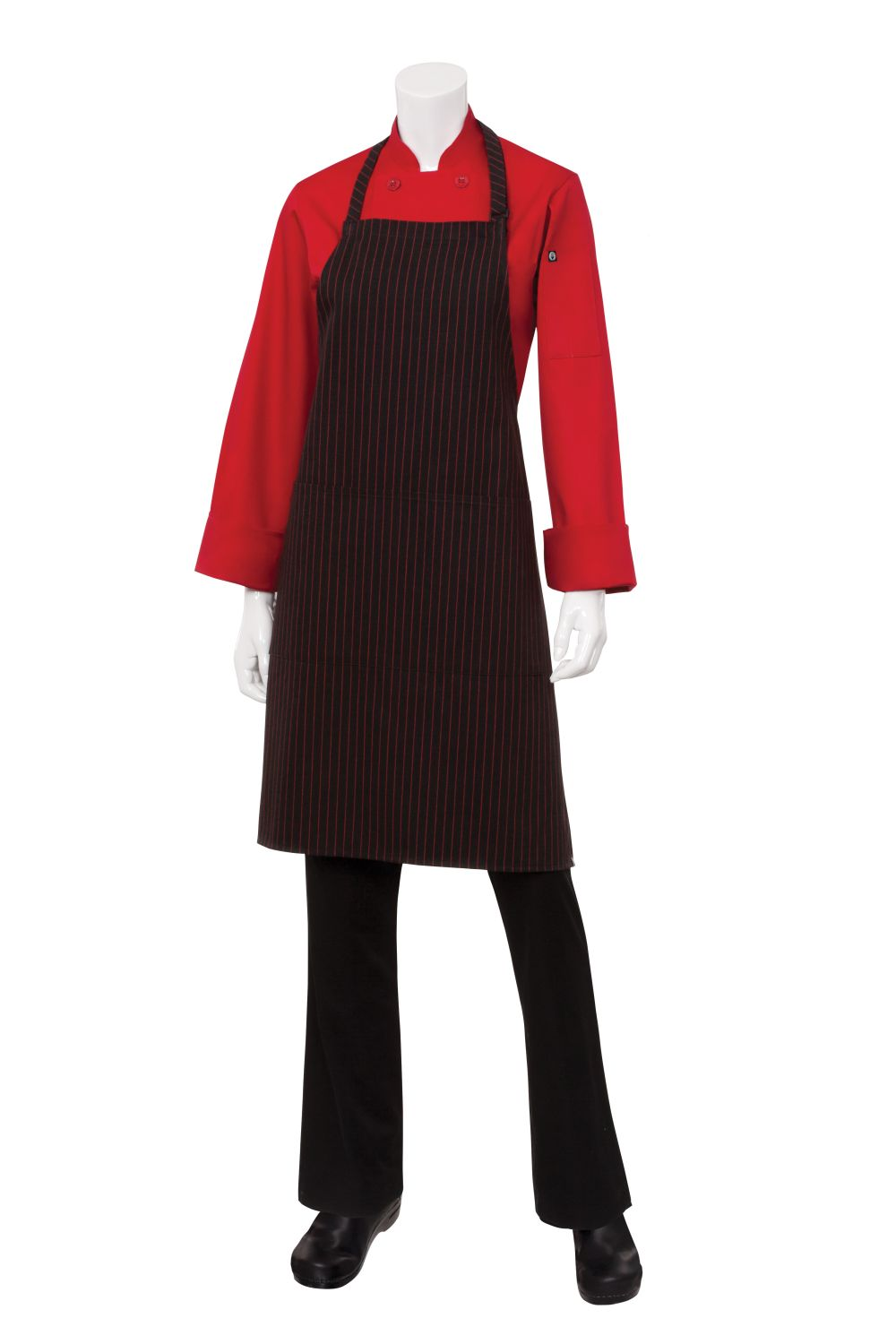 Red Pin Striped Bib Apron