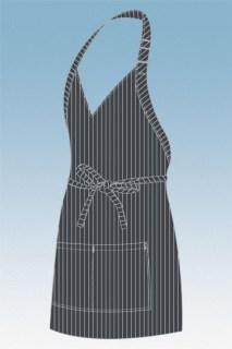 Charcoal Pinstripe V-Neck Tuxedo Apron-CW