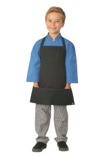 Kids Black Apron with Berry Stitching-Chef Works
