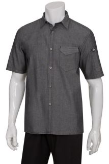 Detroit Short-Sleeve Denim Shirt-CW