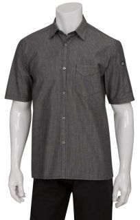 Detroit Striped Short-Sleeve Denim Shirt-CW