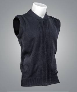 Cobmex Crew Neck Zip Front Vest with Seed Stitch Plackets-