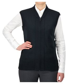 Cobmex Crew Neck Zip Front Vest with Seed Stitch Plackets-Cobmex