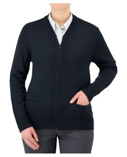 Cobmex Crew Neck Long Sleeve Zip Front Cardigan with Pockets. Ribbed Waistband and Cuffs-Cobmex