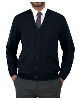 Cobmex V-Neck Long Sleeve Button Front Cardigan with Pockets. Ribbed Waistband and Cuffs-Cobmex