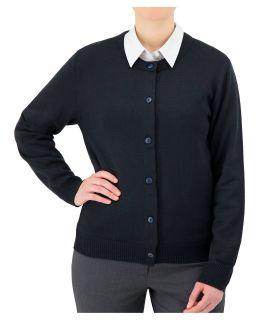 Cobmex Ladies Crew Neck Long Sleeve Button Front Cardigan. Ribbed Waistband and Cuffs-Cobmex