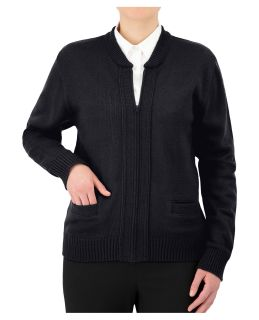 Cobmex Zip Front Cardigan with Seed Stitch Placket and Pockets. Reinforced Elbows, Ribbed Waistband and Cuffs-