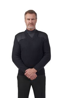 "8081 Cobmex V-Neck Rib ""Commando"" with Velcro Epaulets, Shoulder and Elbow Patches-"