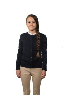 Cobmex YOUTH Ladies Crew Neck Long Sleeve Button Front Cardigan. Ribbed Waistband and Cuffs-Cobmex