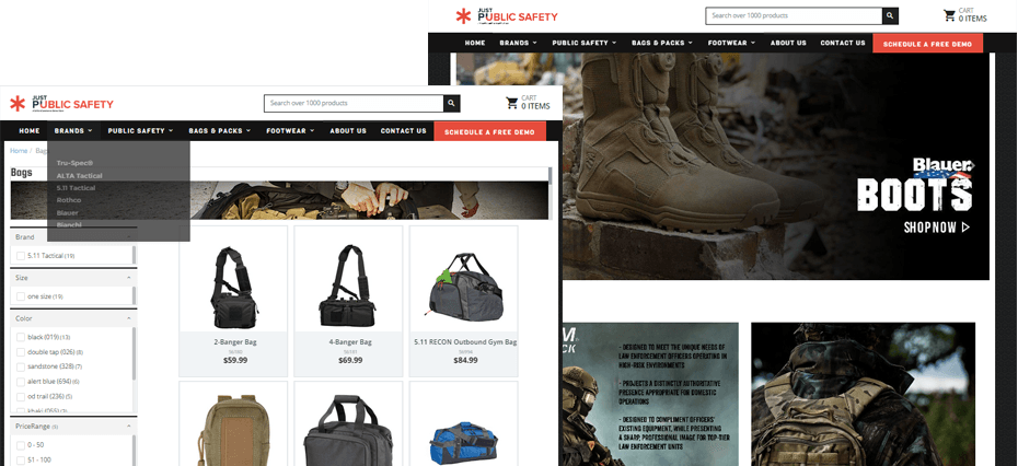 Uniform retailer websites