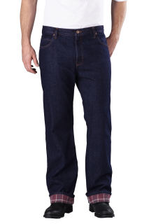 Relaxed Straight Fit Flannel-Lined Jean
