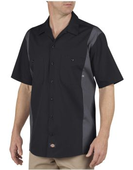 Dow Industrial Mens Ls524 Bk/Ch 2tone Shirt-Dow