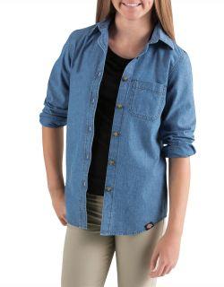 Girls Long Sleeve Chambray Shirt