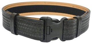 """2-1/4"""" Plastic Buckle Basketweave Leather Duty Belt"""