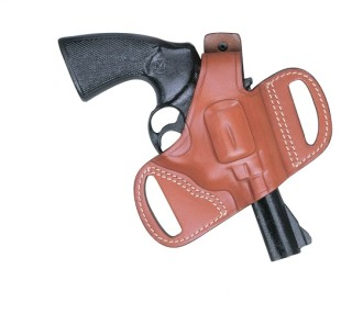 Leather Half Pancake Revolver Holster - Plain - Black