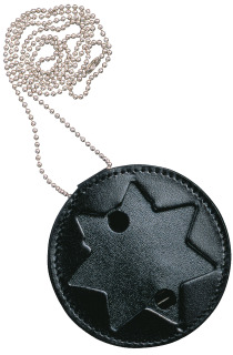 Recessed 7 Pt Star Shield Neck Leather Badge Holder