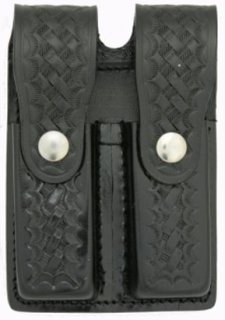 Leather Double Magazine Holder for 9mm - Basket Weave