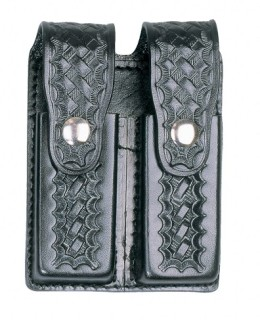 Leather Double Magazine Holder for .45 Caliber - Basket Weave