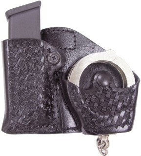 Leather Vertical Open Magazine / Cuff Combo Holder - Basket Weave-