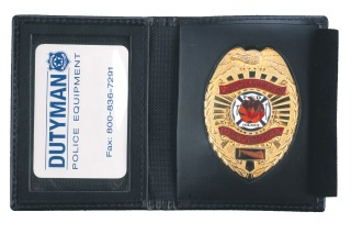 Leather ID Badge Case With Shield-