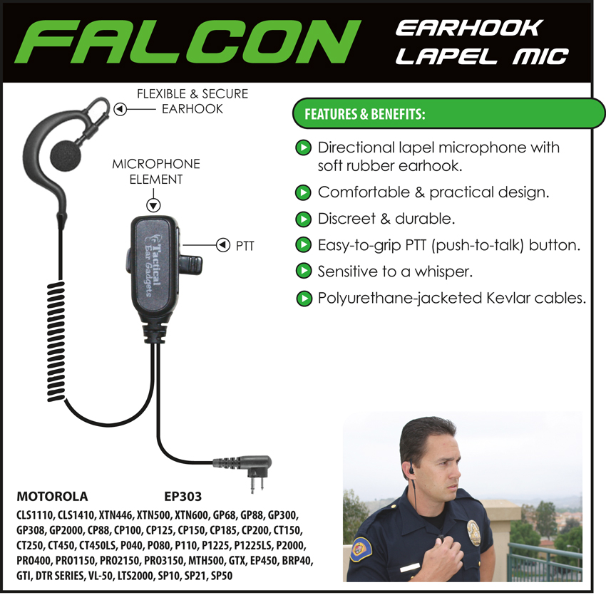 Falcon Earhook Lapel Microphone