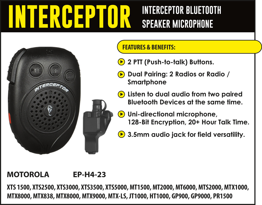 Interceptor Bluetooth Speaker Microphone