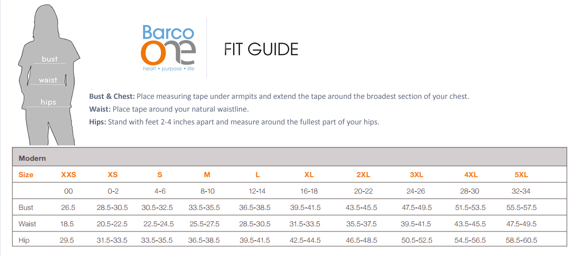 barco one modern fit size chart