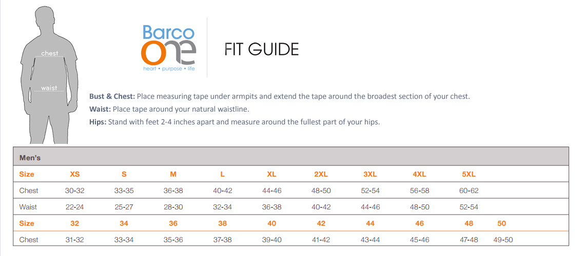 barco one mens size chart