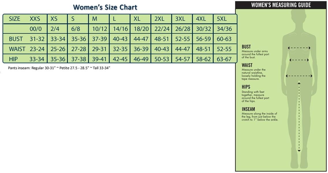 cherokee women's size chart