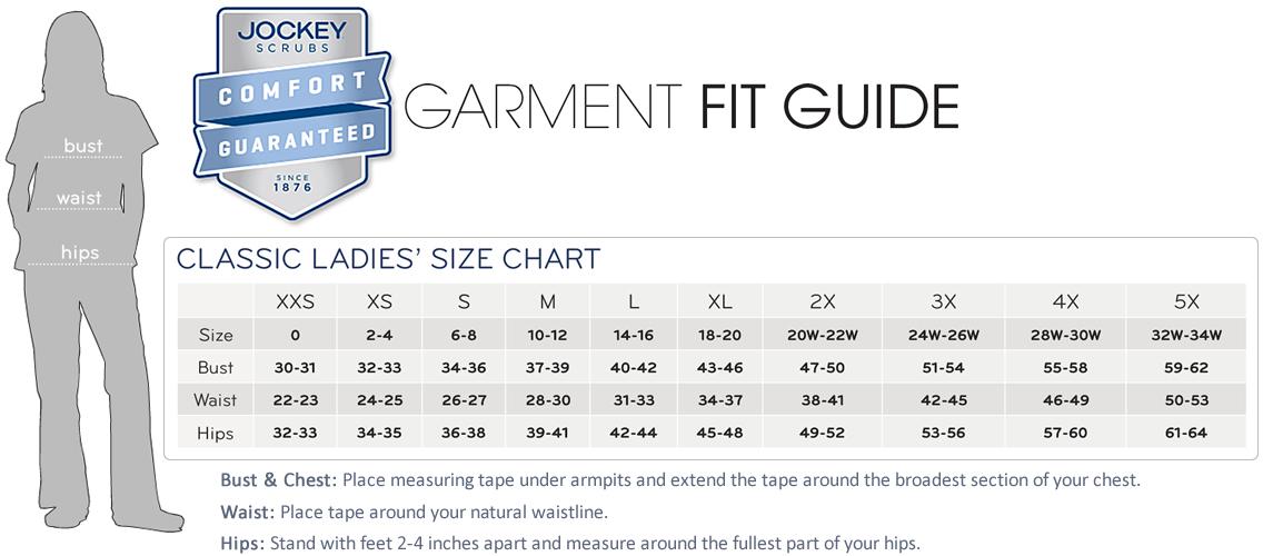 jockey scrubs ladies size chart