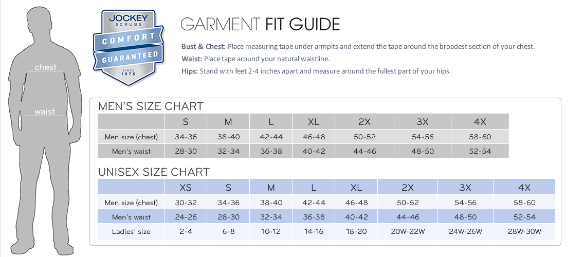 jockey scrubs mens unisex size chart