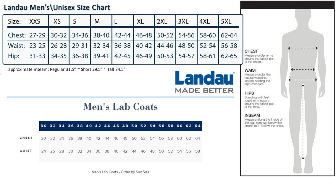 Landau Men's Four Button Lab Coat - 3132