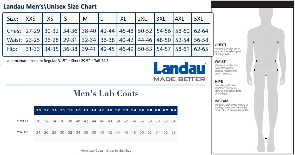 "Landau Men's 40"" Knee Length Lab Coat - 3139"